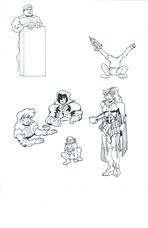 Character Sketches featuring hero team