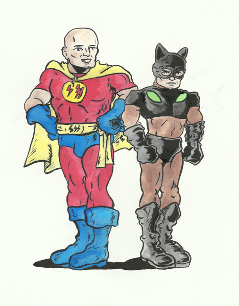 Superhero and Siamese Cat